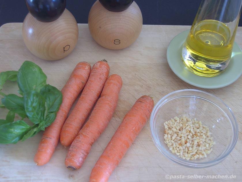 Zutaten für Karottenpesto