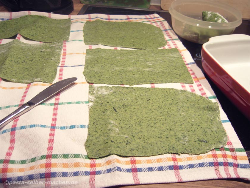 Grüne Lasagneplatten