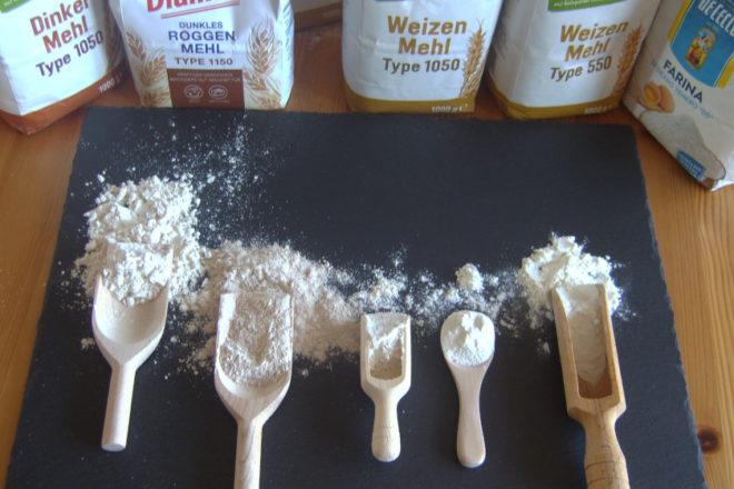 verschiedene Mehlsorten